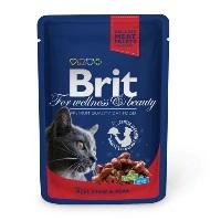 BRIT Premium Sığır Etli ve Bezelyeli Pouch Kedi Konserve 100 GR