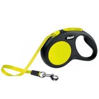 FLEXI Neon Otomatik Şerit Köpek Gezdirme Tasma M Sarı 5 MT