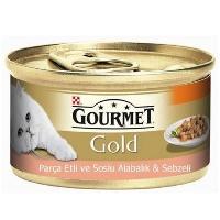 GOURMET Gold Parça Et Soslu Alabalık Sebzeli Kedi Konserve 85 GR