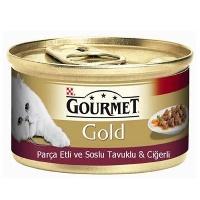 GOURMET Gold Parça Et Soslu Tavuklu Ciğerli Kedi Konserve 85 GR