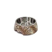 KAYA PET Melamin/Çelik Mama Kabı Leopar Desenli 350 ML