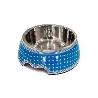 KAYA PET Melamin Çelik Mama Kabı Mavi Benekli 350 ML