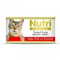 NUTRI FELINE Tahılsız Sığır Etli ve Zeytinli Kedi Konserve 80 GR